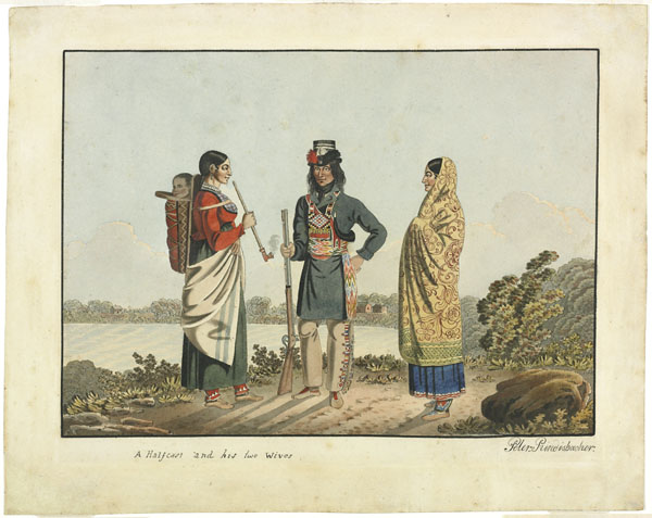 Watercolour on wove paper of a man in a blue jacket and sash standing between two women, one of whom is smoking a pipe and carrying a baby on a cradleboard on her back.
