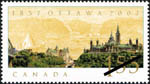 White $1.55 stamp with a colour illustration of buildings on a cliff in the foreground, and a pale yellow illustration of a river in the background