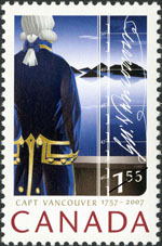 White $1.55 stamp with a colour illustration of a man in a 18th-century naval uniform looking at a coastline in the distance