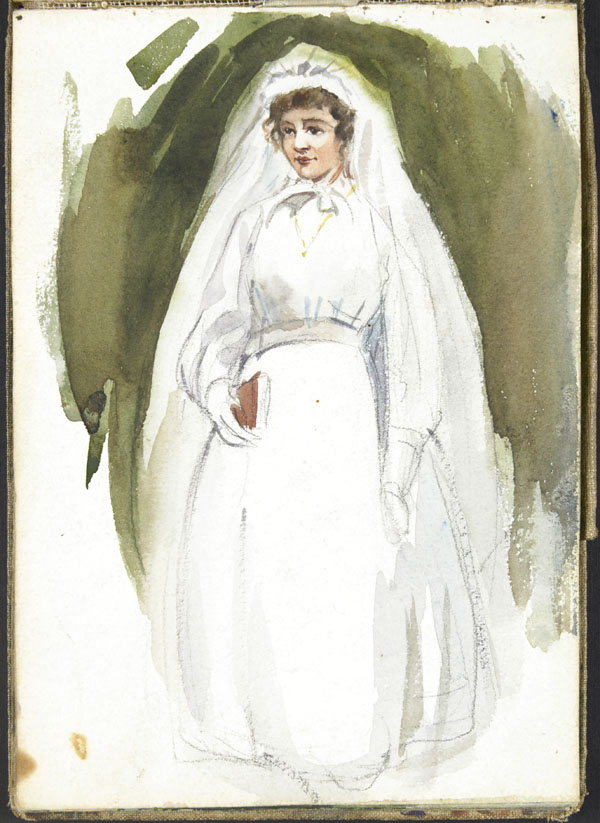 Young woman wearing a bridal gown or First Communion dress
