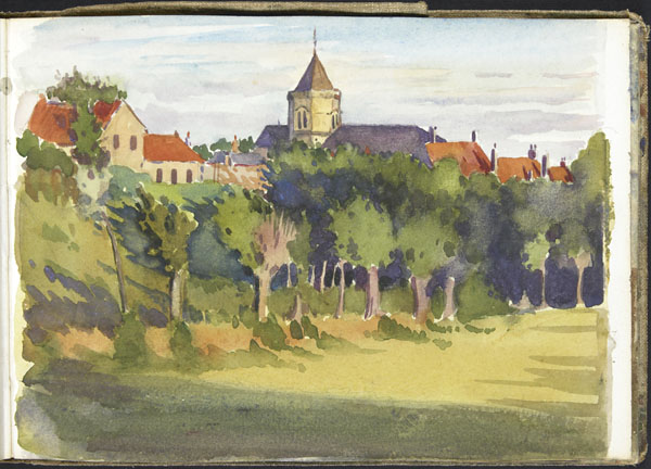 View of Wimille, with its church of Saint-Pierre by the Wimereux river
