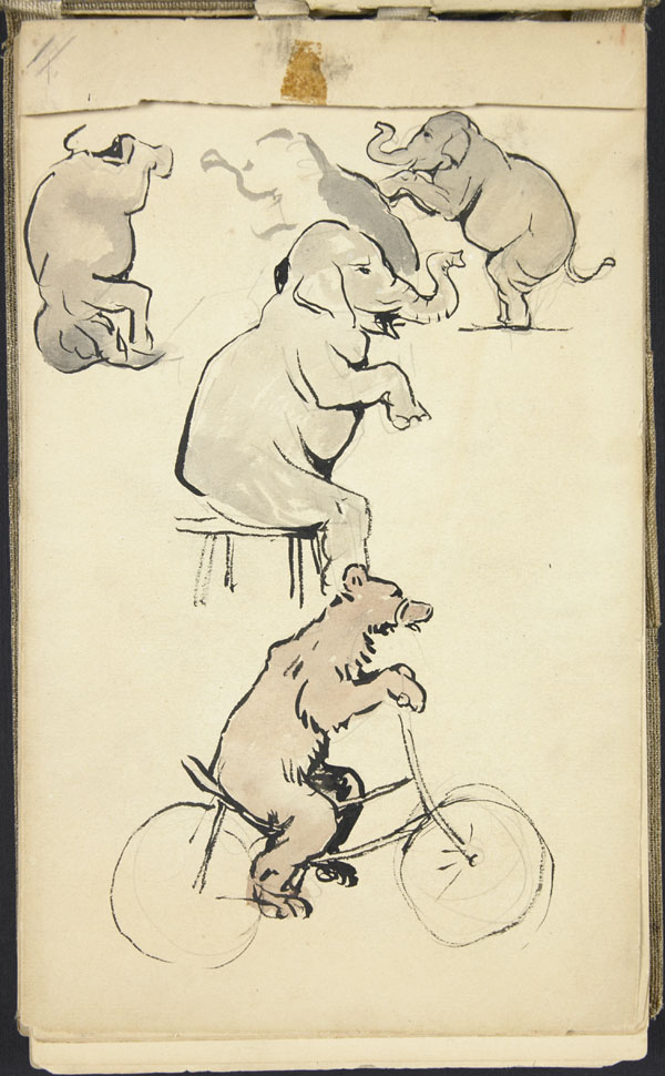 Sketch of three elephants, and a bear on a bicycle, London Zoo