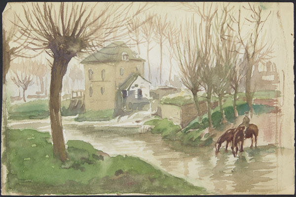 Soldier watering two horses near a mill, Somme