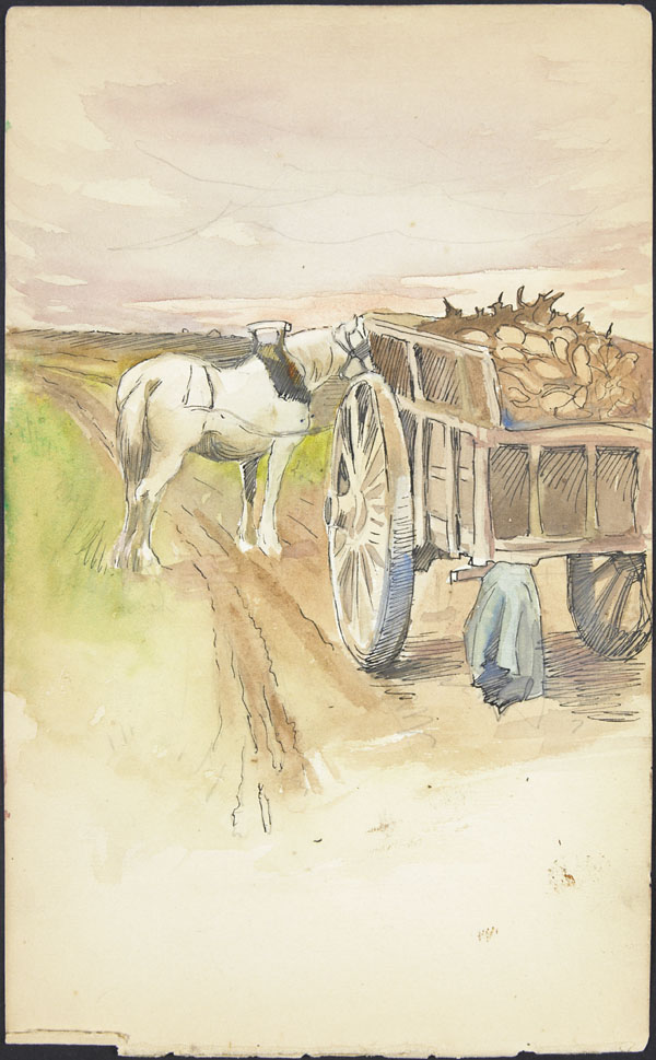 Horse and farm wagon on rural road, Somme