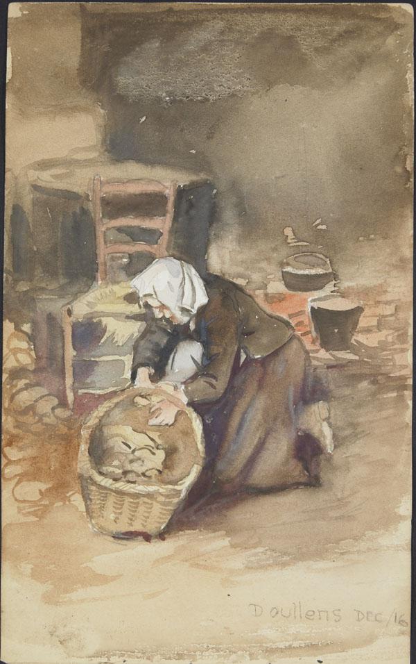 Woman kneeling over a basket, Doullens