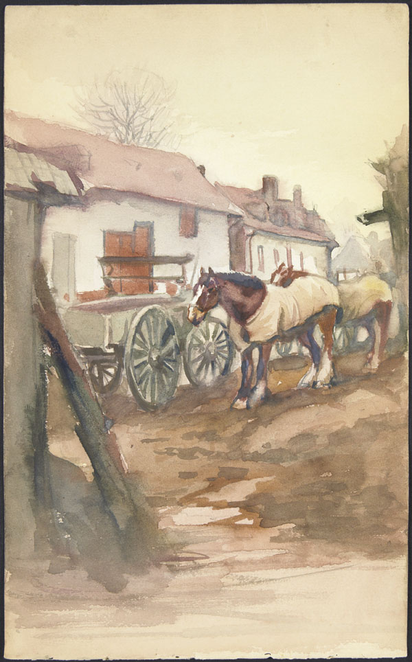 Horses in blankets, Doullens