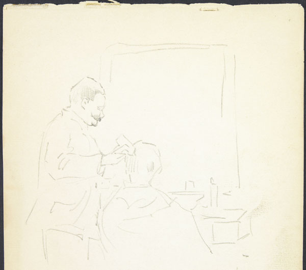 Sketch of a man getting a haircut in a barber shop, Somme
