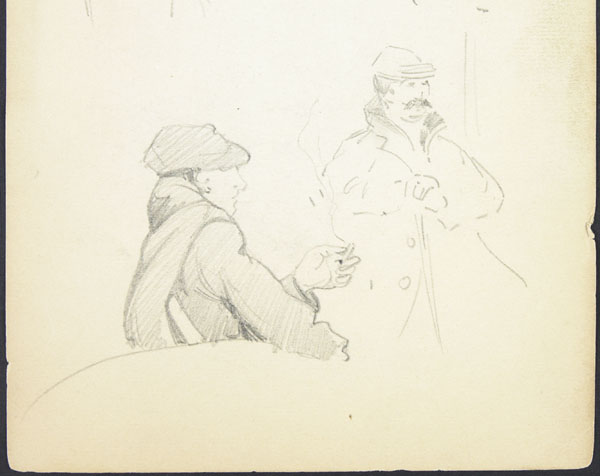 Sketch of two men resting outdoors, one smoking and one leaning on his cane, Somme