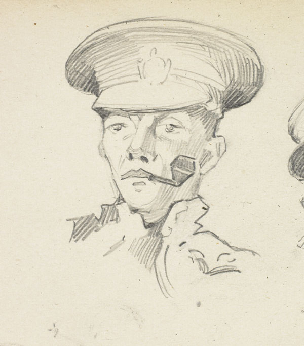 Study of a soldier with a tobacco pipe