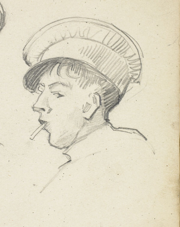 Profile of a soldier with a cigarette