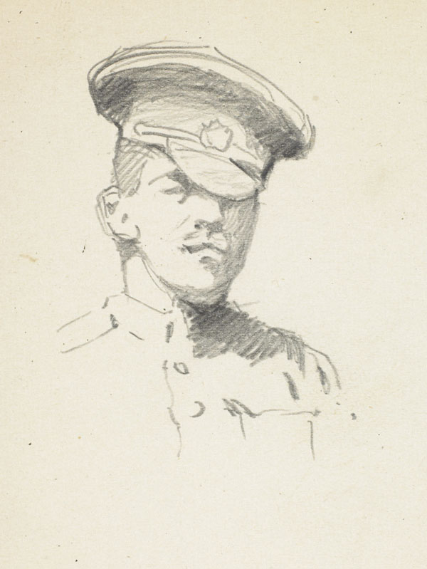 Study of a soldier in uniform