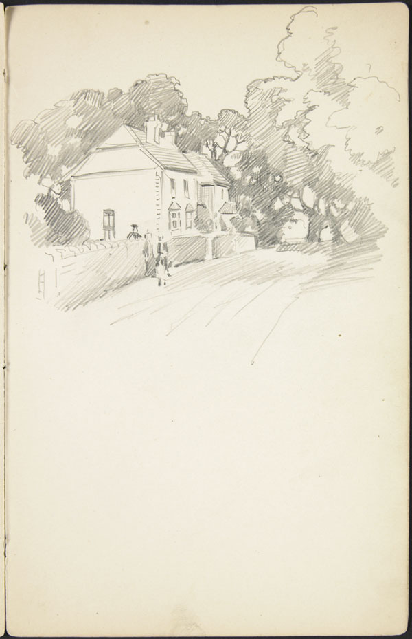 Sketch of houses on a road shaded with trees