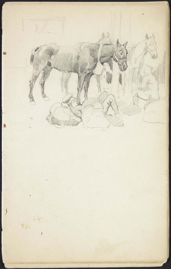 Soldiers and horses resting at a military camp