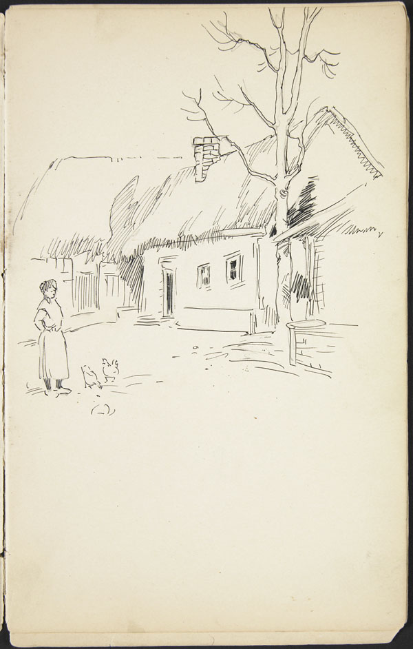 Thatched cottages and fowl run, Candas