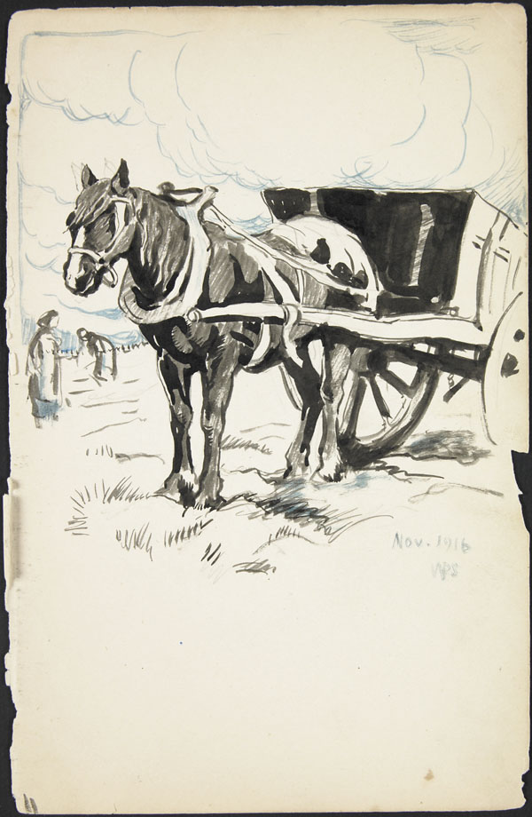 Horse drawn wagon and peasants in a field, Somme