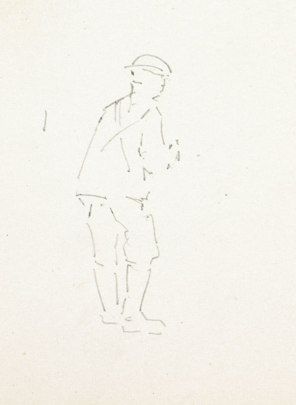 Outline sketch of a soldier seen from behind, Somme