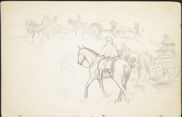Rough sketch of horse drawn artillery, military wagons, and soldiers in transit
