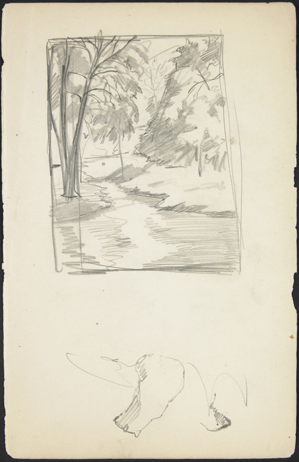 Rough sketch of a landscape with trees and a river