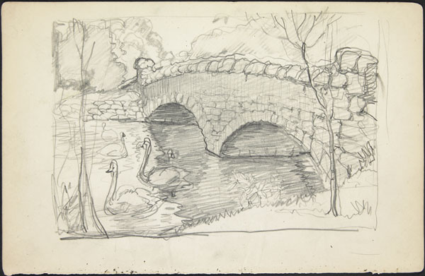 Double-arch bridge with swans (e008311186)
