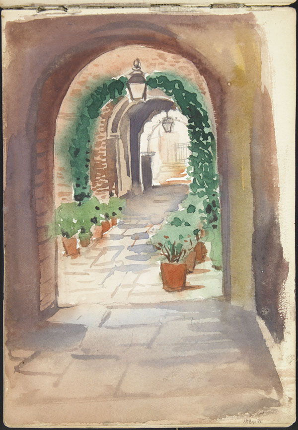 Arched passageway decorated with plants and ivy, Somme