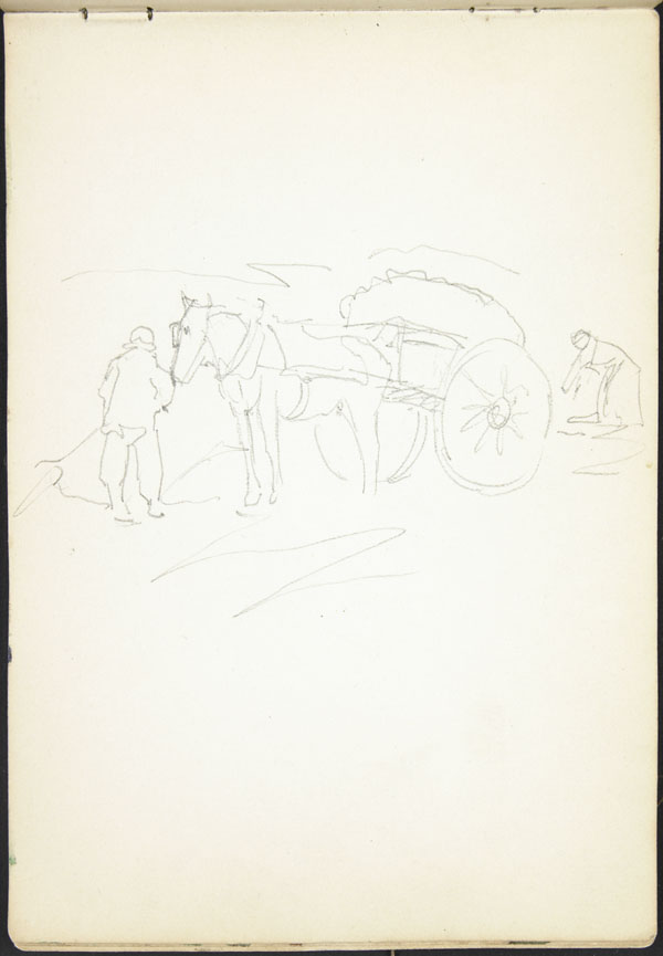 Peasants working in a field with a horse and cart, Somme (e008311199)