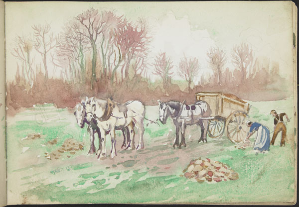 Peasants working in a field with horses and a cart, Somme (e008311202)