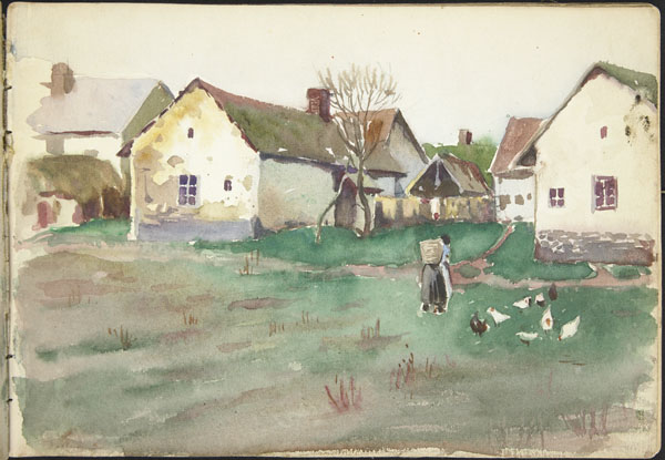 White houses, peasant woman, and chickens seen from the fields, Somme