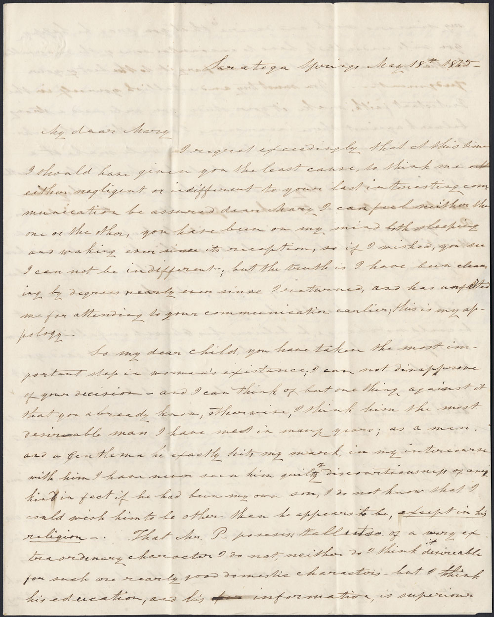 [Correspondence of Mary Westcott] 1845. (item 5)