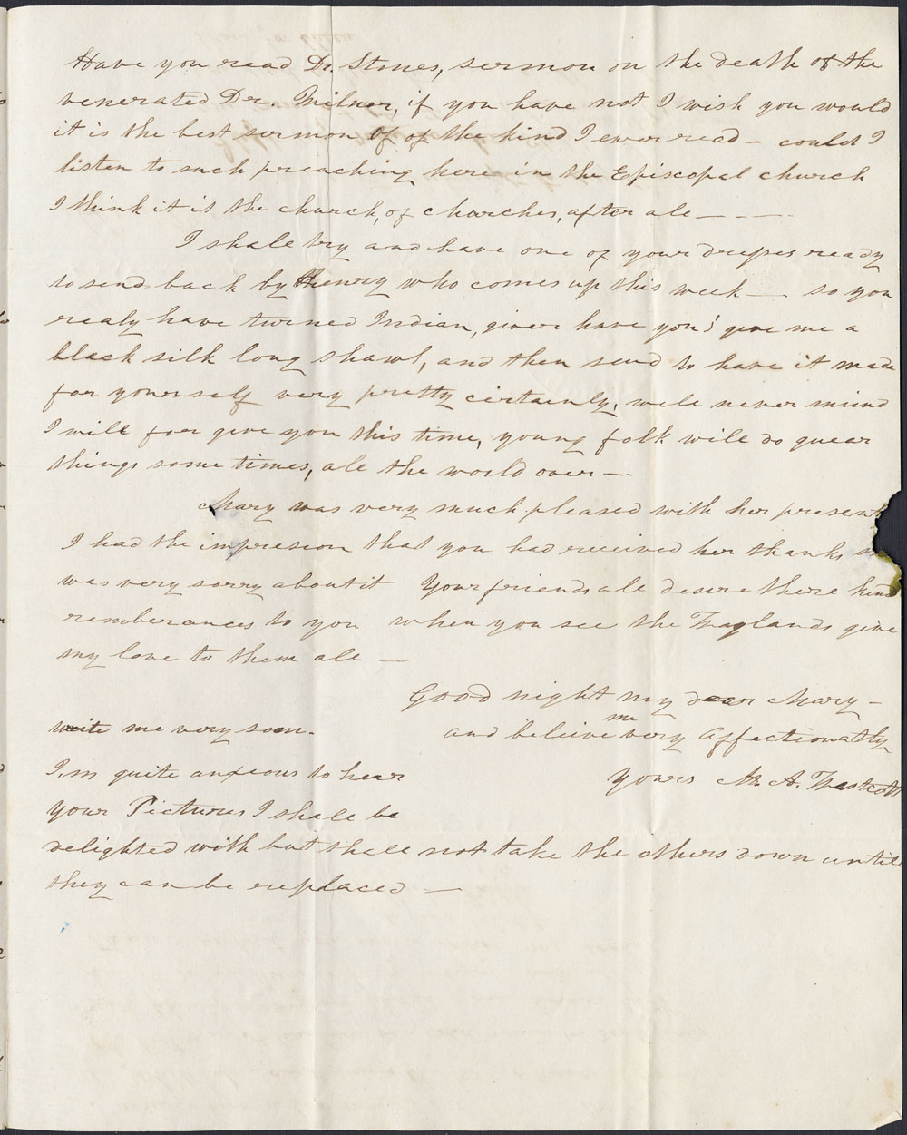 [Correspondance de Mary Westcott] 1845 . (item 7)
