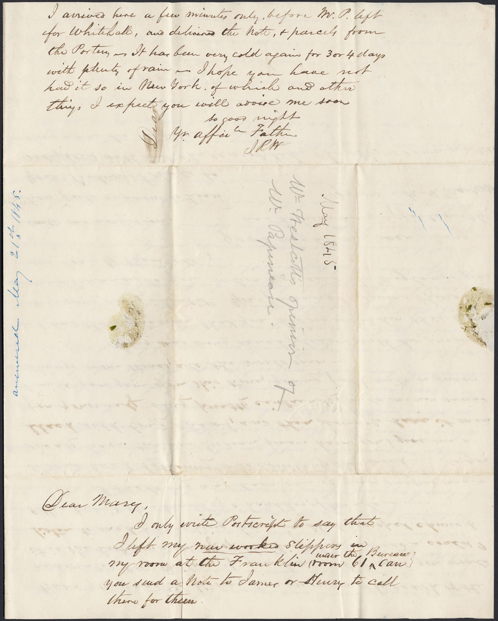 [Correspondance de Mary Westcott] 1845 . (item 8)