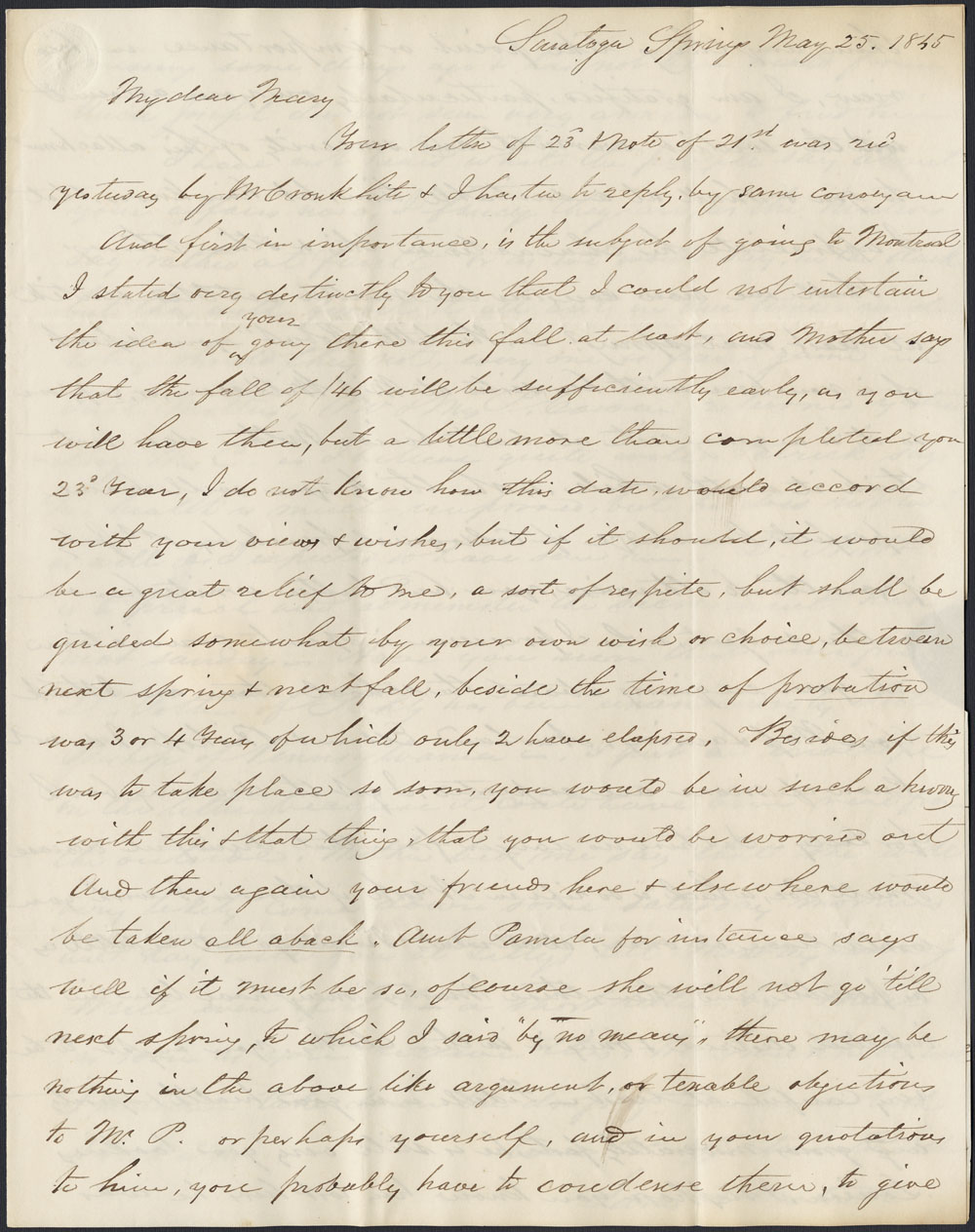 [Correspondance de Mary Westcott] 1845 . (item 9)