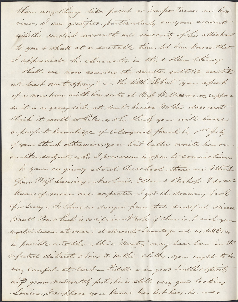 [Correspondance de Mary Westcott] 1845 . (item 10)