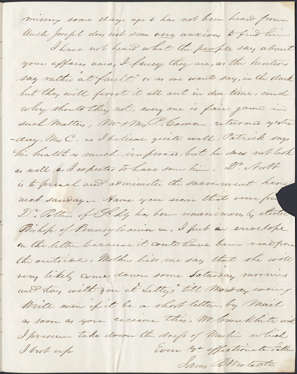 [Correspondance de Mary Westcott] 1845 . (item 11)