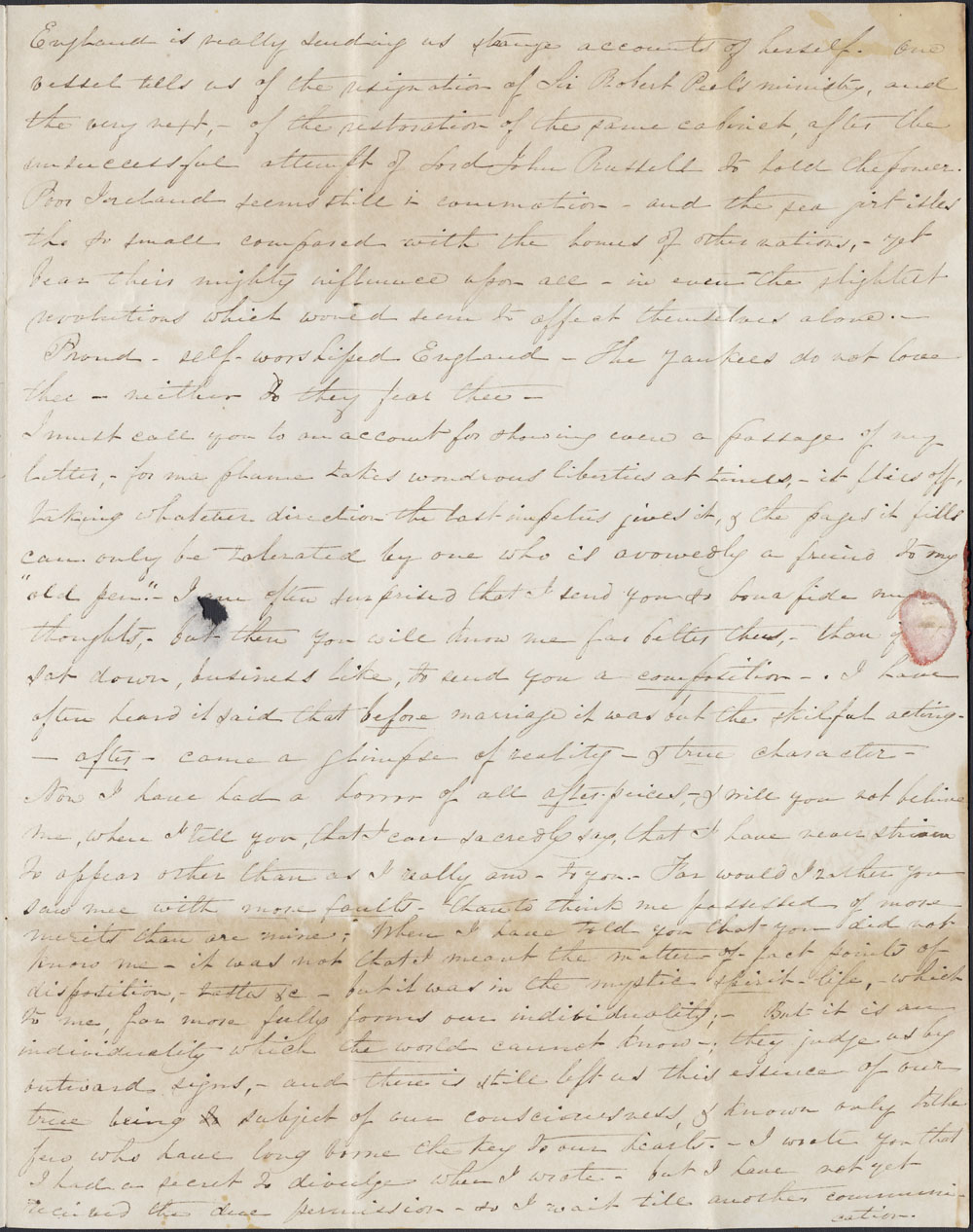 [Correspondence of Mary Westcott] 1846. (item 3)
