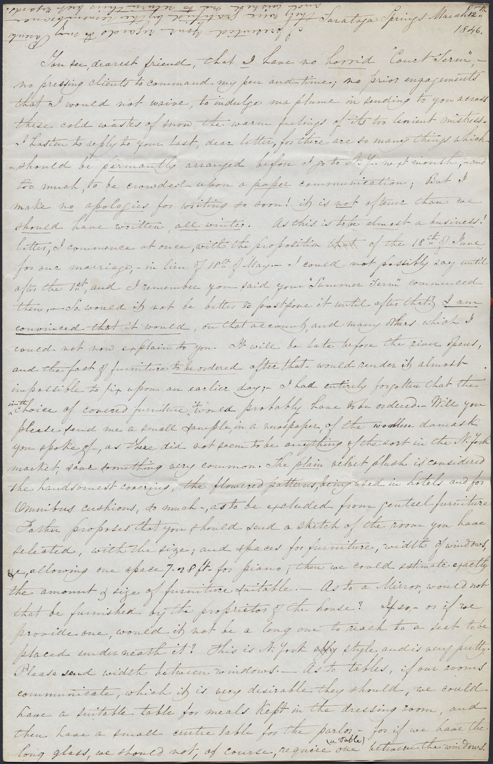 [Correspondence of Mary Westcott] 1846. (item 5)