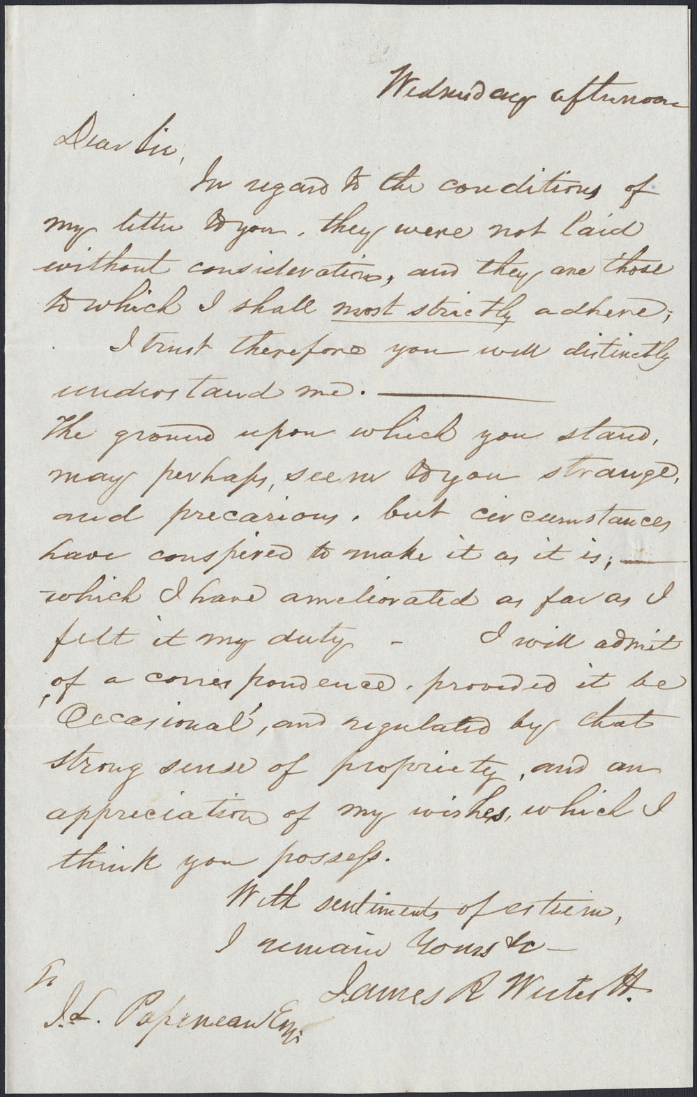 [Correspondance de Mary Westcott] 1843 . (item 5)