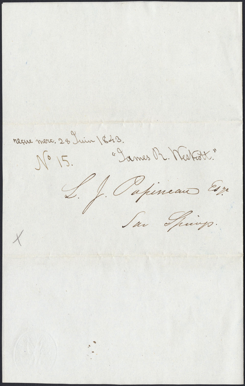 [Correspondance de Mary Westcott] 1843 . (item 6)
