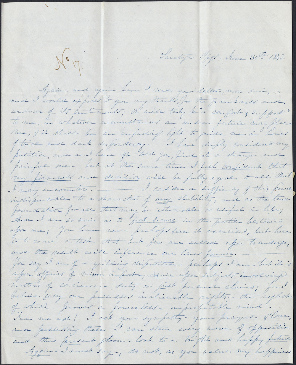 [Correspondance de Mary Westcott] 1843 . (item 7)
