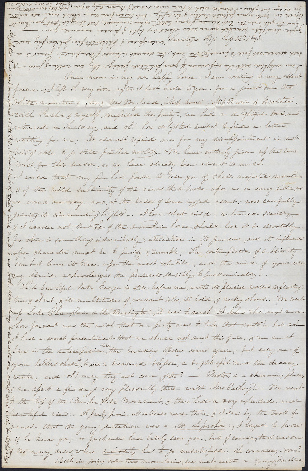[Correspondance de Mary Westcott] 1843 . (item 12)