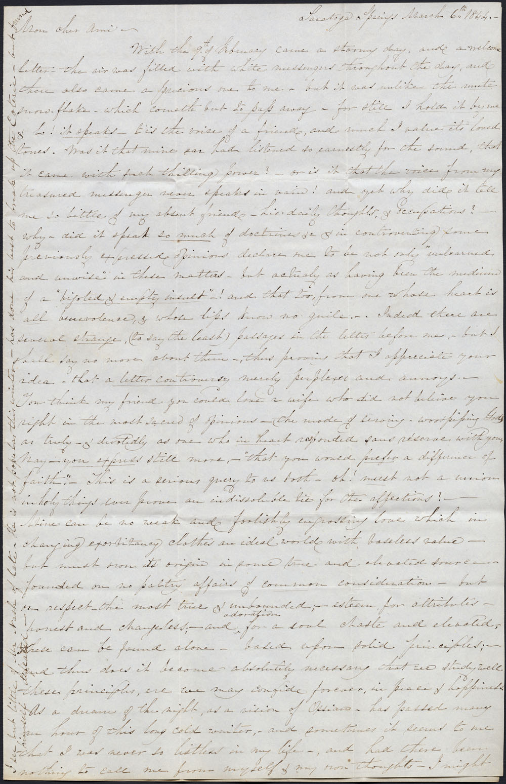 [Correspondence of Mary Westcott] 1844. (item 1)