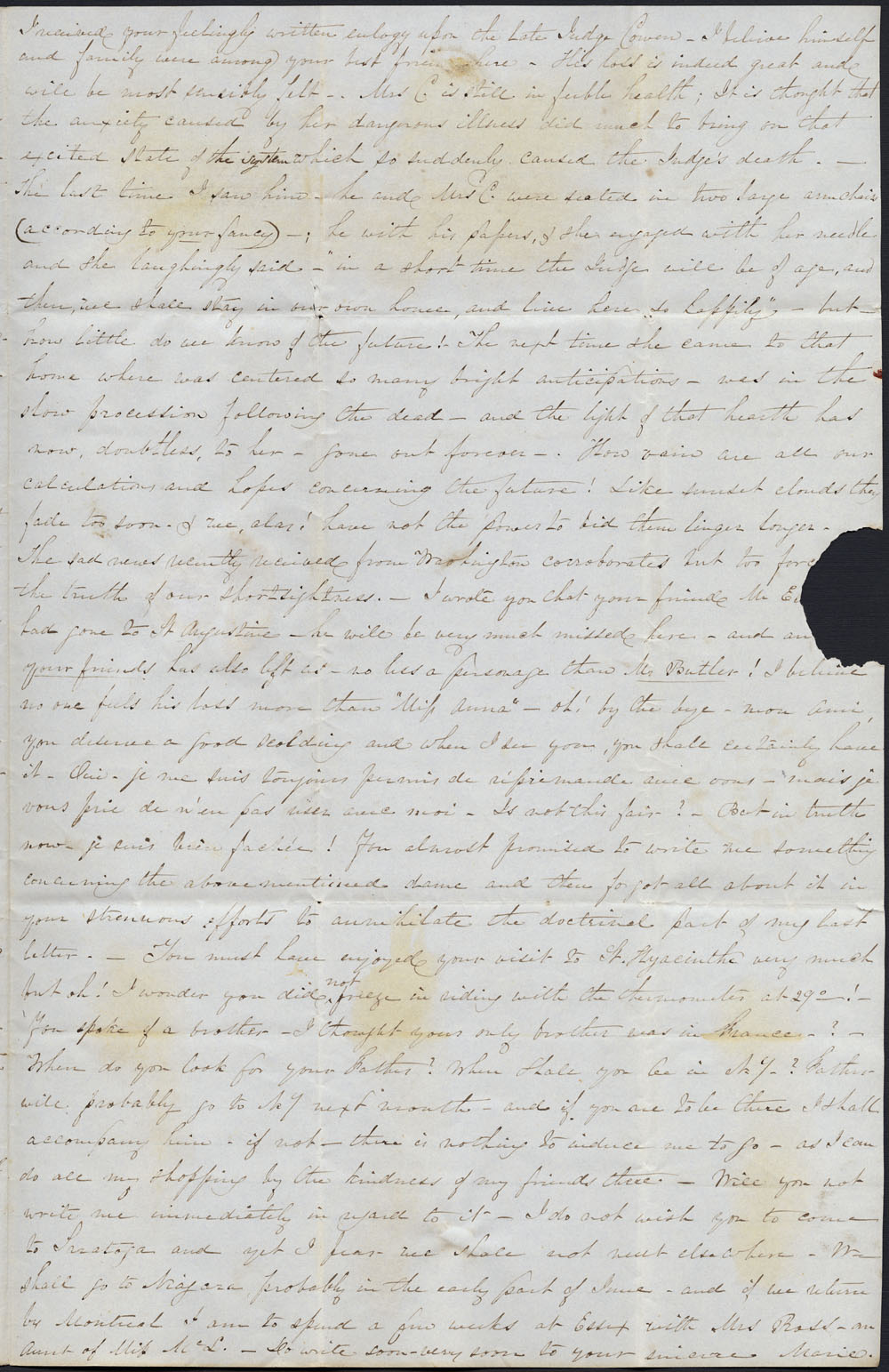 [Correspondence of Mary Westcott] 1844. (item 3)