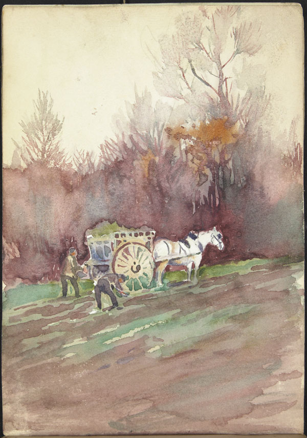 Peasants working in a field with a horse and cart, Somme (e008315297)