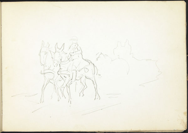 Rough sketch of two horses and a rider in a military convoy, Somme