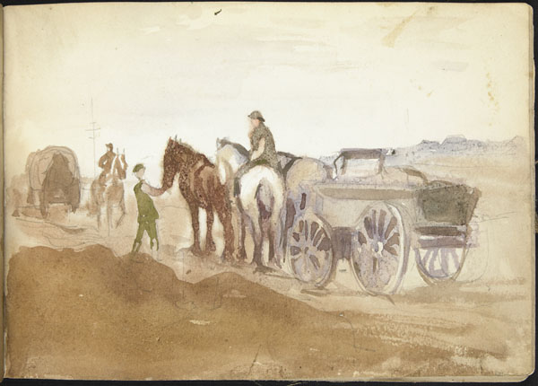 Horse drawn military supply wagon in transit, Somme
