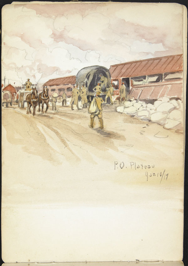 Military convoy arriving at P.O. Plateau, Somme