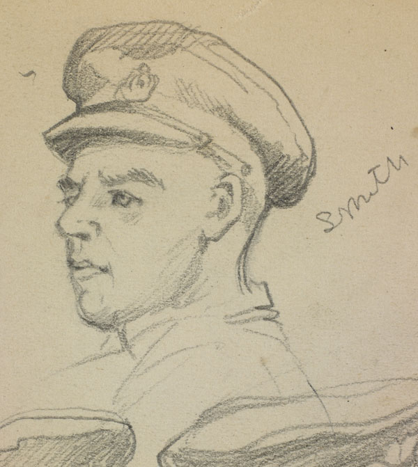 Portrait study of Smith, A.B. Walker and a third soldier, French Flanders - Smith (detail)
