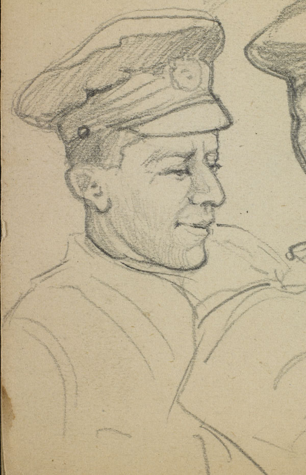 Portrait study of Smith, A.B. Walker and a third soldier, French Flanders - Unidentified soldier (detail)