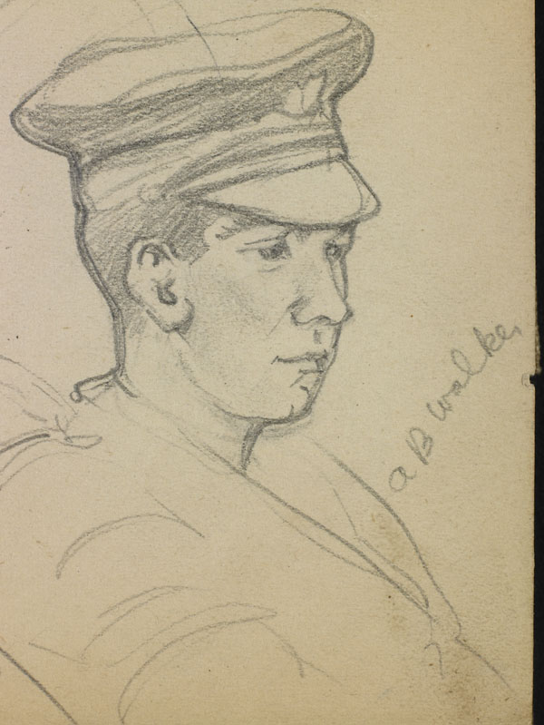 Portrait study of Smith, A.B. Walker and a third soldier, French Flanders - A.B. Walker (detail)
