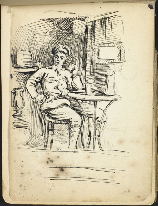 Interior view with a soldier seated at a table with a kettle, French Flanders