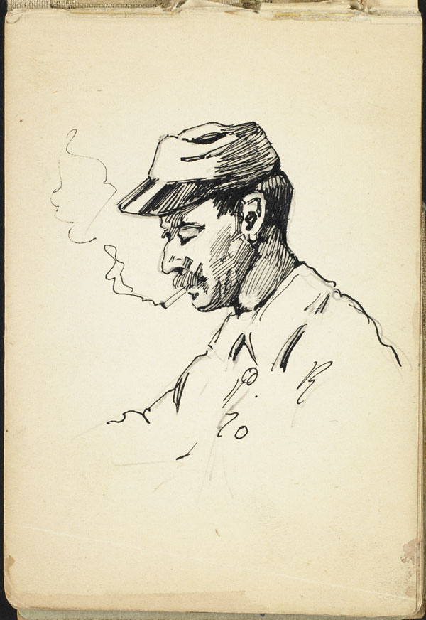 Soldier smoking a cigarette, French Flanders